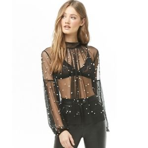 NWT Black and faux pearl mesh high neck blouse top